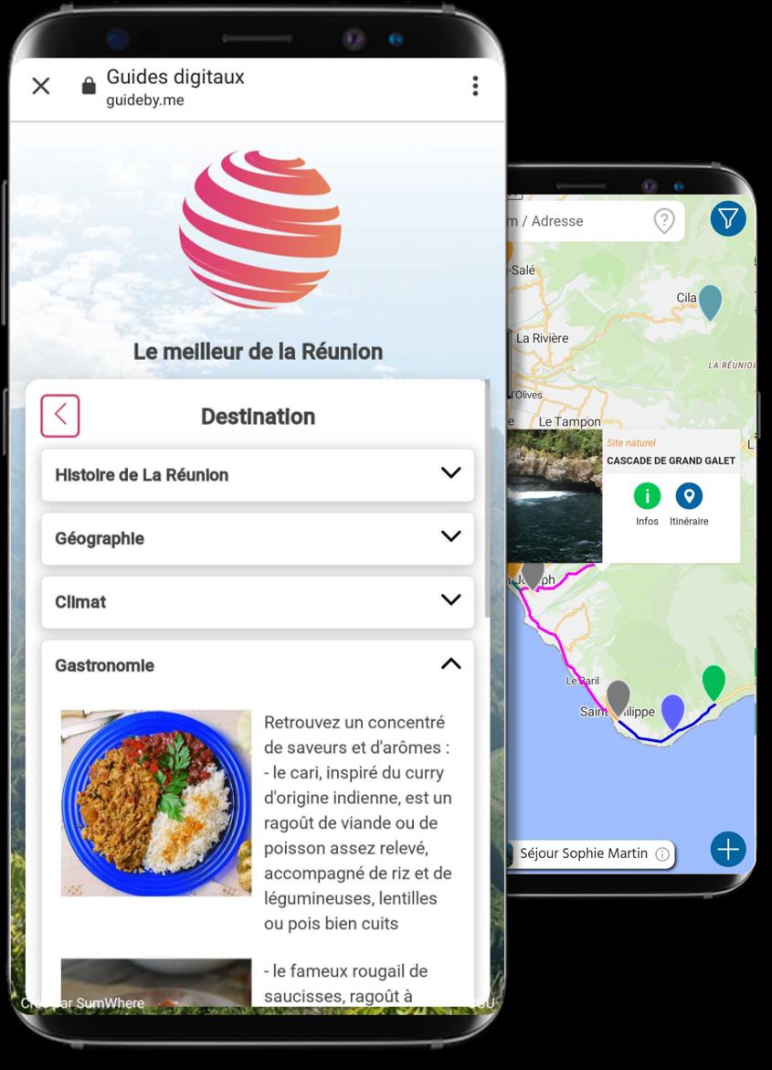 Ecrans avec des informations et une carte dans le carnet de voyage