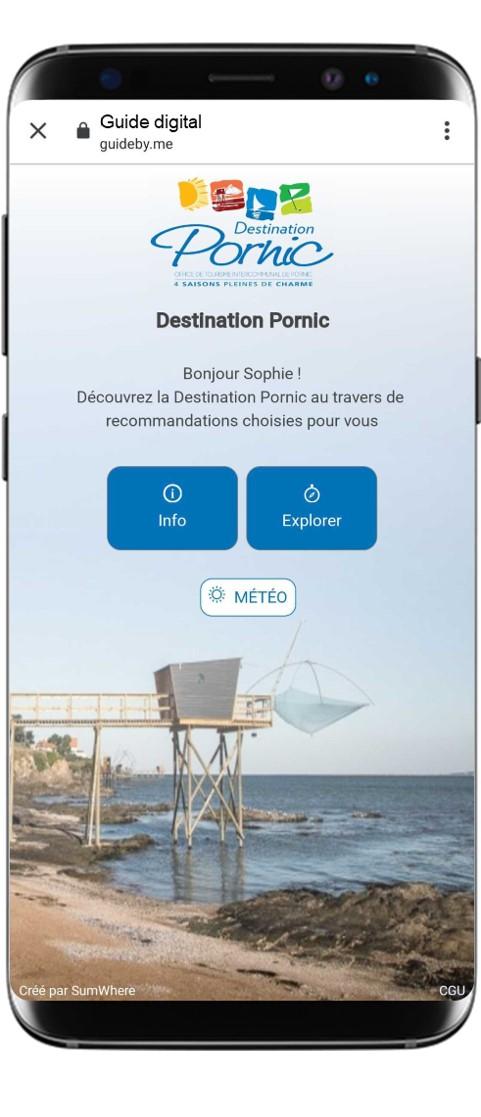 smartphone affichant une conciergerie de séjour