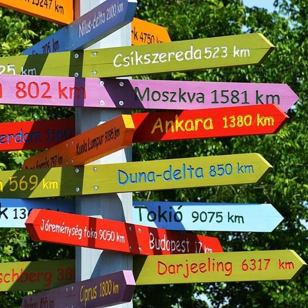 Poteau indicateur avec des directions nombreuses et colorées
