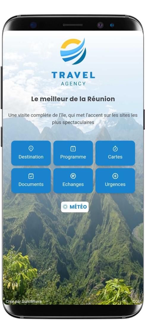 smartphone affichant un carnet de voyage