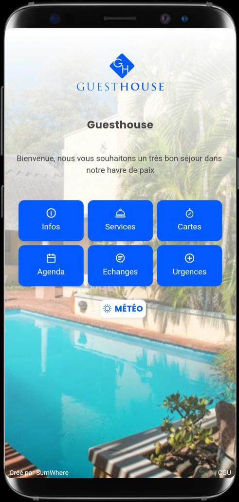 Smartphone affichant une conciergerie digitale